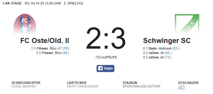Auswärtssieg gegen den FC Oste/Old. II
